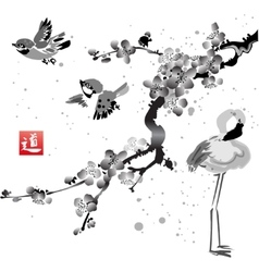Card with sakura in the bird and flamingos vector