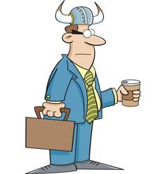 Cartoon Businessman Wearing a Viking Helmet vector image