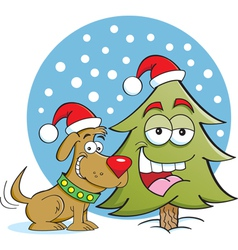 Cartoon christmas dog and tree vector