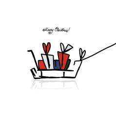 Christmas gifts in sledge sketch for your design vector image vector image