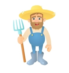 Farmer with pitchfork icon flat style vector