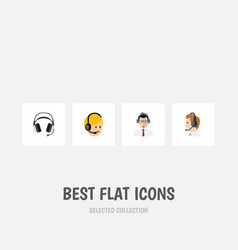 Flat icon hotline set of earphone telemarketing vector