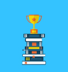 Flat icons of heap textbooks and cup of award - vector
