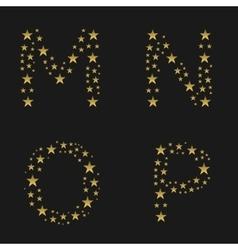 Golden stars alphabet vector image