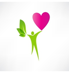 Green man and the heart icon vector
