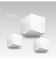 Group of white glossy cube vector image