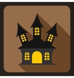Halloween witch castle icon flat style vector