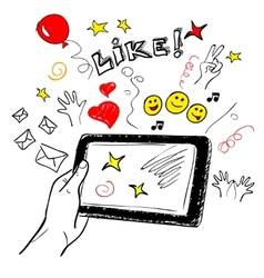 Hand touchscreen sketch social vector image