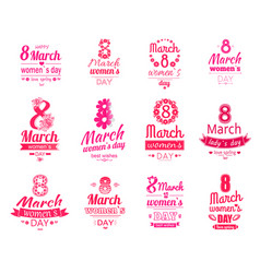 Happy 8 march women day posters set love spring vector
