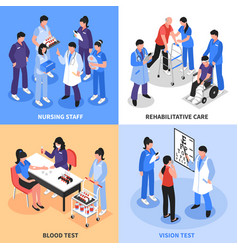 Hospital 4 isometric icons concept vector