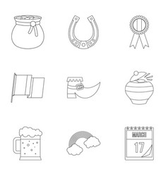 Irish holiday patrick icon set outline style vector