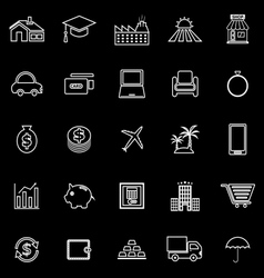 Loan line icons on black background vector