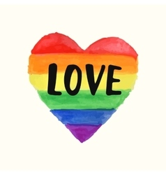 Love Gay Pride poster rainbow spectrum heart shape vector image vector image