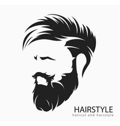mens hairstyle with beard mustache vector image vector image