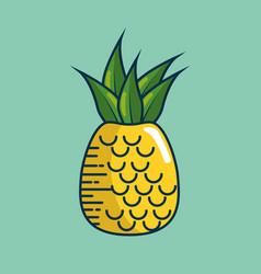 pineapple fresh fruit handmade drawn vector image