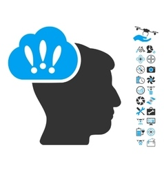 Problem brainstorm icon with air drone tools bonus vector