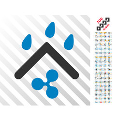 Ripple rain protection flat icon with bonus vector