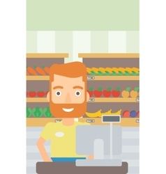 Salesman standing at checkout vector