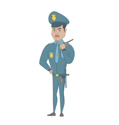 security guard talking on walkie-talkie radio vector image