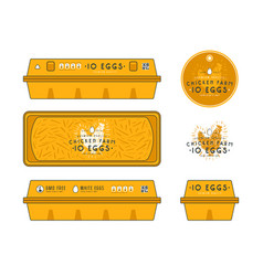 Template label for egg packaging vector