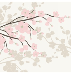 Watercolor Background with Blooming Apple Flowers vector image vector image