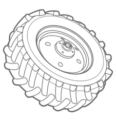 wheel tractor outline vector image
