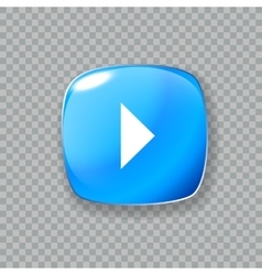 Play arrow icon glossy blue button vector