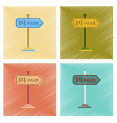 assembly flat shading style icons park sign vector image