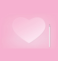 Pink heart with white pencil vector