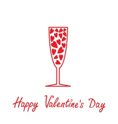 Champagne glass with heart valentin vector