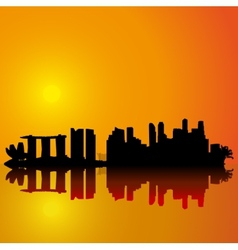 Singapore skyline black silhouette vector