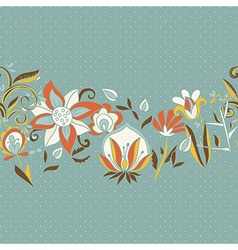 Seamless border texture with flowers vector