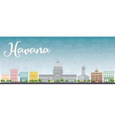 Havana skyline with color building and blue sky vector