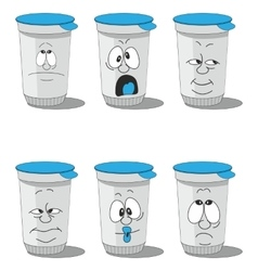 Set smiling plastic cups 005 vector