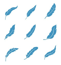 Feather icons set isolated on white vector