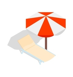 Beach chaise lounge with umbrella icon vector