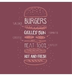 Burger ingredients hand drawn advertisement sign vector