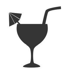 Cocktail cup straw icon vector image