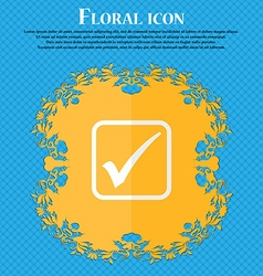 A check mark Floral flat design on a blue abstract vector image