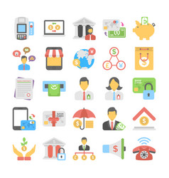 banking and finance colored icons 3 vector image vector image