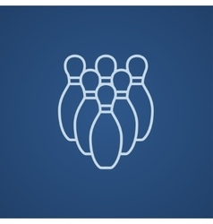 Bowling pins line icon vector