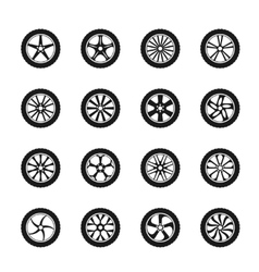 car wheel icons vector image vector image