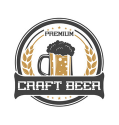 Craft beer vintage isolated sticker vector
