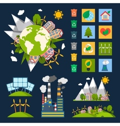 Ecology symbols set vector image vector image