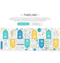 Elegant thin flat line timeline concept vector