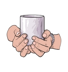female hand holding a cup with hot beverage vector image