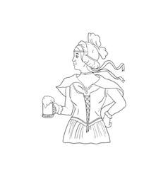 German barmaid serving beer drawing vector