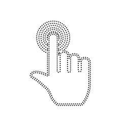 Hand click on button black dotted icon on vector