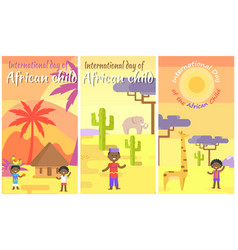 international day of african child placards set vector image