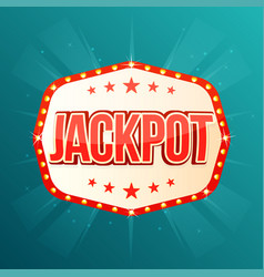 jackpot banner retro light frame with glowing vector image vector image